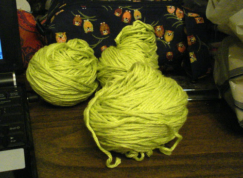 Knit Picks Shine worsted cotton modal green colour in centerpull balls
