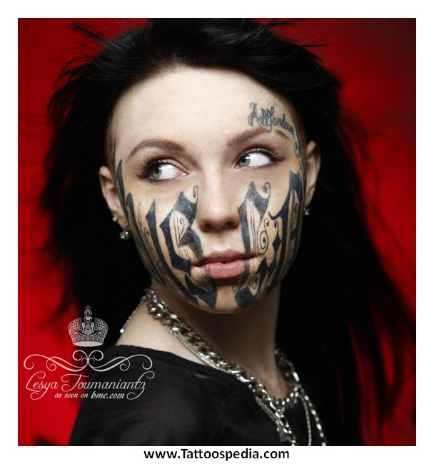 Girl Tattoos Russia On Face 3