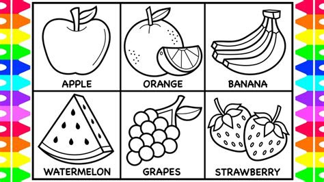 ideas  coloring book  kids fruits