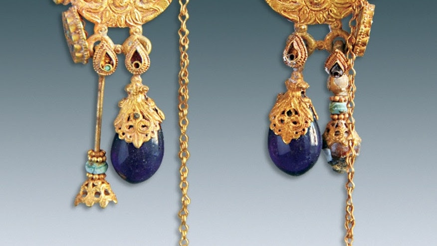 Two gold earrings were found beside Farong's skull in Datong City, China.