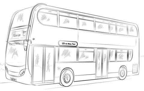 二階建てバス ぬりえ