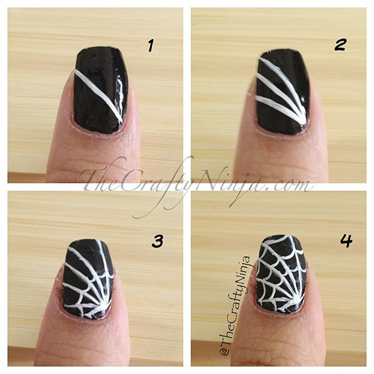 Spider web + Sugar Skull Nail = great Halloween idea