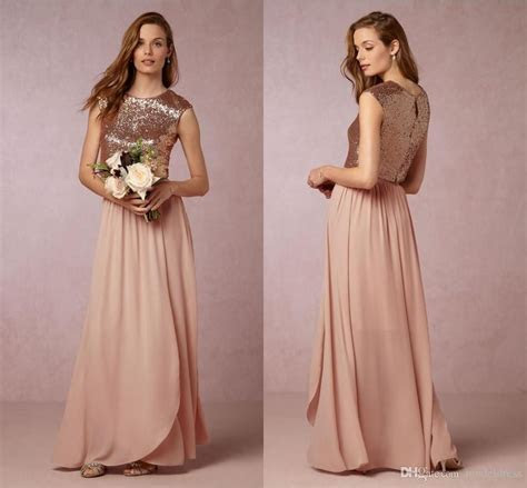 2016 NewTwo Pieces Blush Pink Bridesmaid Dresses Rose Gold