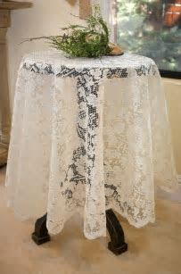 """Tablecloth Lace Round Ivory 60"""""""