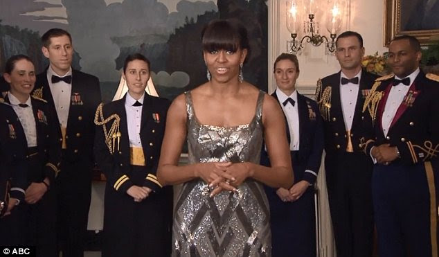 Michelle Obama appears on the Academy Awards program remotely from the White House on February 24, 2013 to introduce the winner of the Best Picture category