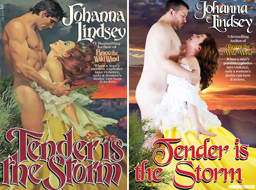 4 - Normal average couple recreate romance novel cover of Tender Is The Storm by Johanna Lindsey.