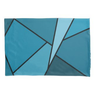 Abstract Teal Polygons Pillowcase