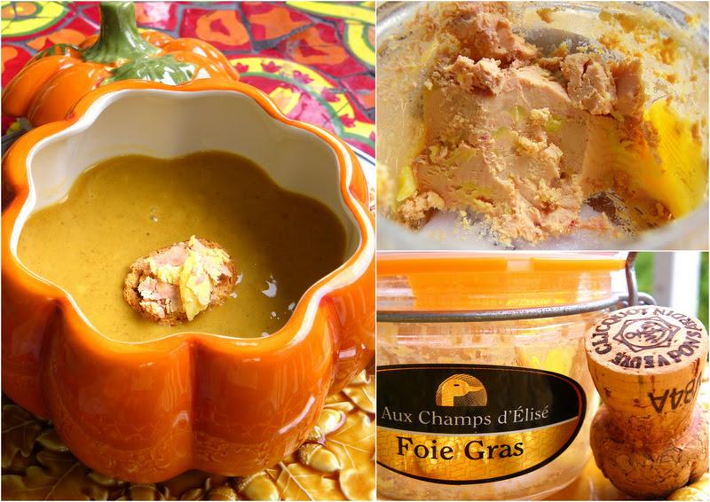 Spicy Port Wine Pumpkin Soup and Foie Gras