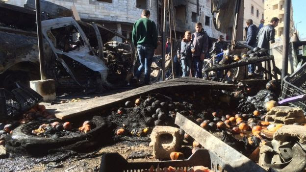 Scene of the blasts near the Sayyida Zeinab shrine, outskirts of Damascus (31 January)