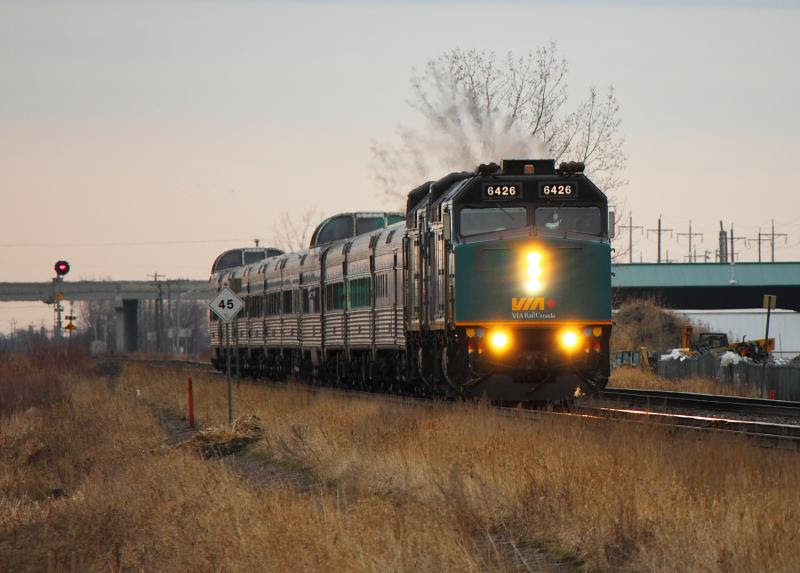 VIA 6426 leads the Canadian out of Winnipeg