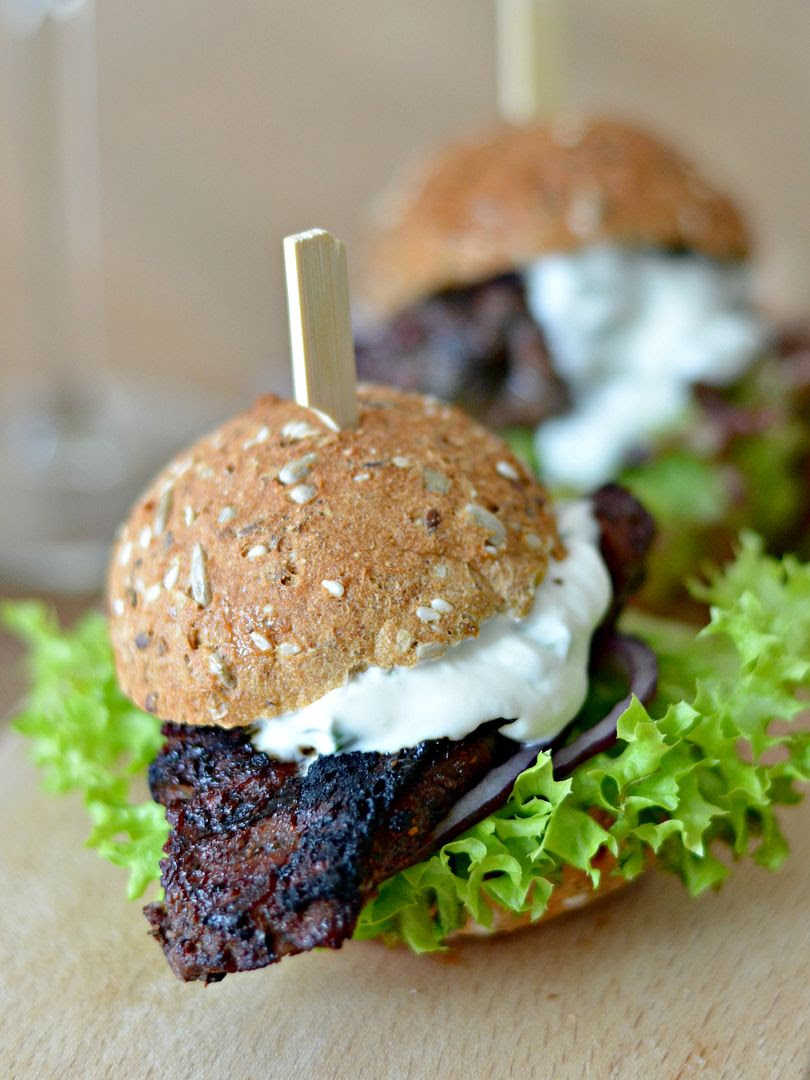 BBQ Lamb Steak Burger with Mint Dressing