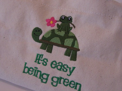 canvas tote with frog