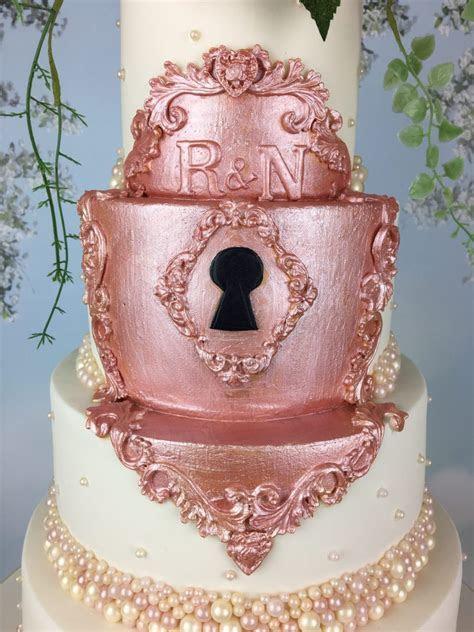 Fairytale Rose Gold Lock Wedding Cake   Mel's Amazing Cakes
