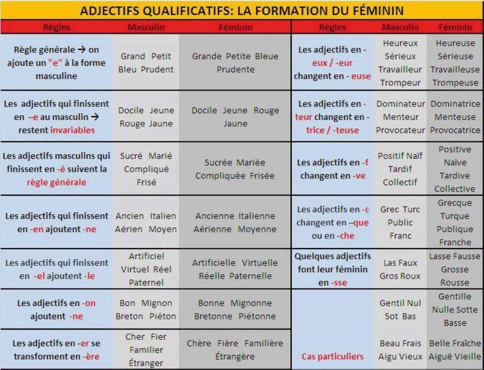 Rodzaj żeński przymiotników - gramatyka 2  tabela - Francuski przy kawie