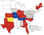 Thumbnail of State-level distribution of Heartland virus case reports in humans and seropositive wildlife, central and eastern United States, 2009–2014. Red indicates states with seropositive animals; gray indicates states with no seropositive animals. Black diagonal lines indicate states in which cases were reported in humans. Year labels indicate the earliest year of detected HRTV activity. Earliest detection was determined by human case reports in Missouri (1 case) and Oklahoma (3 cases) and