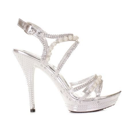 Womens Silver Diamante Wedding Party Pearl High Heel