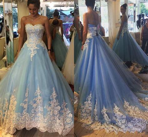 2017 Elegant White And Blue Wedding Dresses Sweetheart