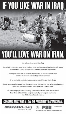 MoveOn.org ad urging Congress to stop the warmonger-in-chief