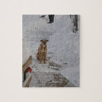 Dog In Snow Jigsaw Puzzle