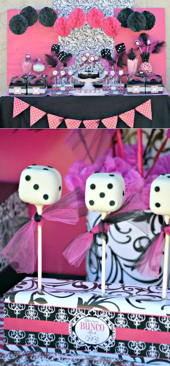 Pink BUNCO themed birthday party via Kara's Party Ideas KarasPartyIdeas.com #pink #bunco #themed #birthday #party #ideas #idea