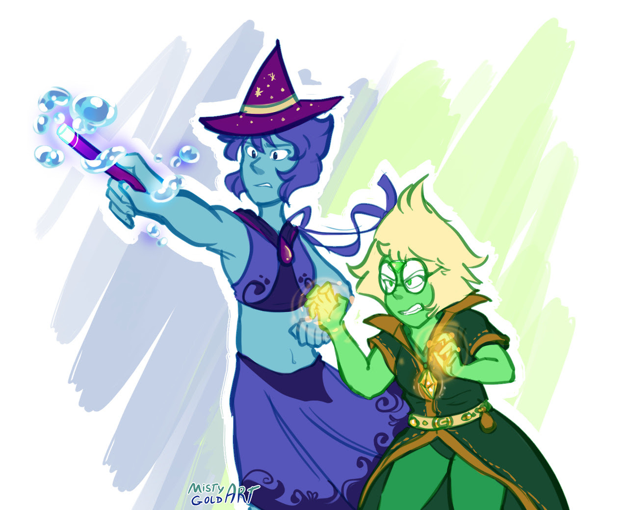 @lapidot-week Day 5 - Costumes/Decorations Lapis Lazuli, the water witch, and Peridot, the alchemist, team up to fight a giant pumpkin (their joint experiment gone wrong) assaulting their...