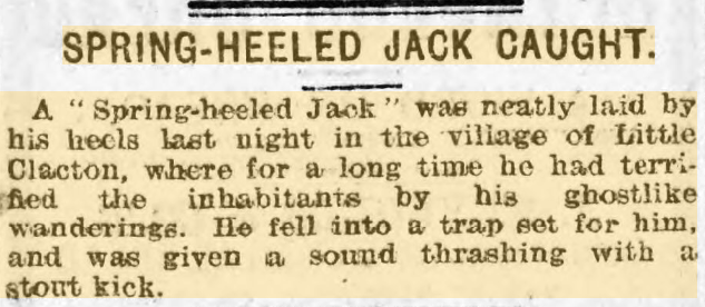 Spring Heeled Jack in the Evening Express, 1906