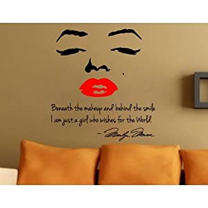 Marilyn Monroe face and red lip with quote wall sticker art decor