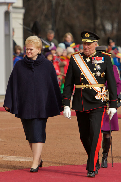 Dalia Grybauskaite Lithuania's president Dalia Grybauskaite and King Harald V of Norway attend the official welcoming ceremony at the Royal Palace during the first day of the Lithuanian state visit on April 5, 2011 in Oslo, Norway.