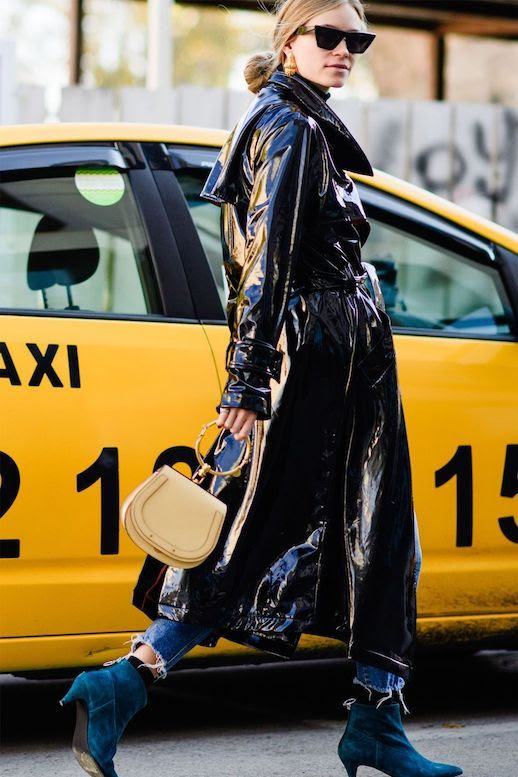Le Fashion Blog Sunglasses Patent Leather Trench Coat Saddle Bag Suede Blue Boots Via Harpers Bazaar