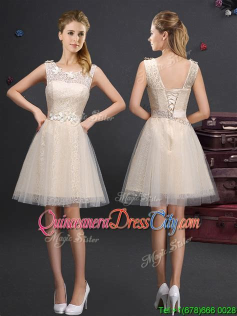 Lovely Champagne Dama Dress with Appliques and Lace   $98.75