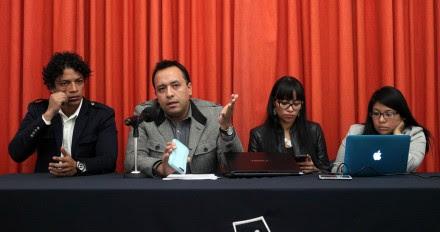 David Peña, representante de los indígenas de Canoa, en conferencia de prensa. Foto: Benjamin Flores