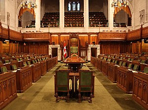 The chamber of the House of Commons of Canada