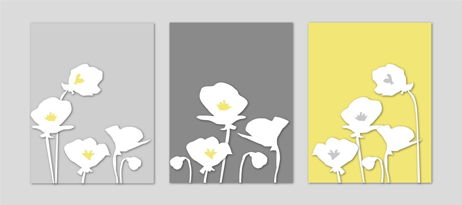 Yellow and Gray Home Decor Botanical Prints - Bedroom Art Nursery Art - Poppies Yellow and Gray Silhouette Series - Set of three 8x10s - karimachal