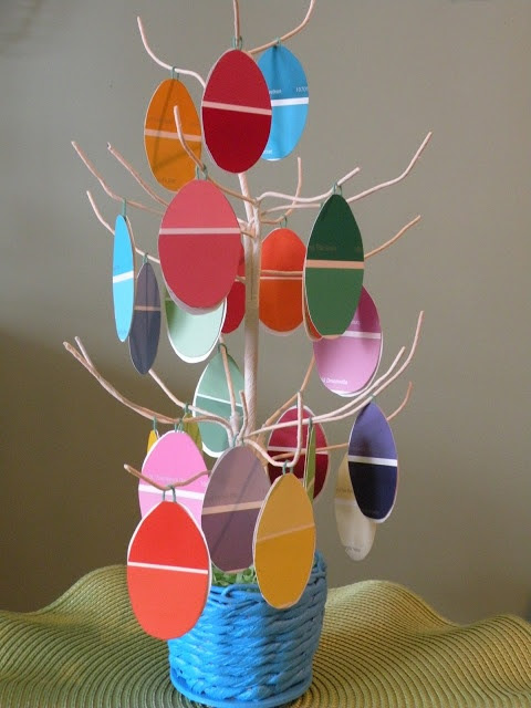 One Mile {Home Style}: Paint Chip Easter Tree