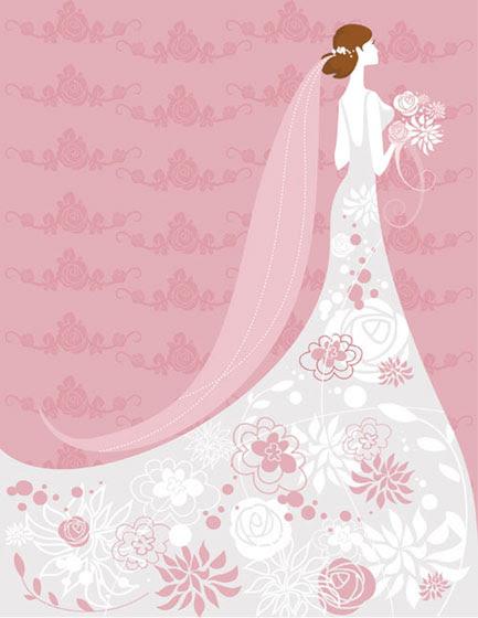 フリー素材 白いウェディングドレスの女性とバラ柄のピンクの背景が