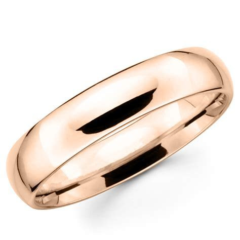 10K Solid Rose Pink Gold 5mm Plain Men's and Women's