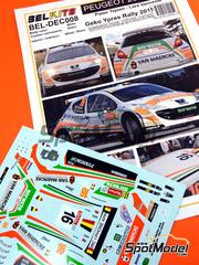 Belkits: Calcas escala 1/24 - Peugeot 207 S2000 Structo Nº 16 - Pieter Tsjoen (BE) + Lara Vanneste (BE) - Rally de Ypres de Belgica 2011 - para kit de Belkits BEL-001