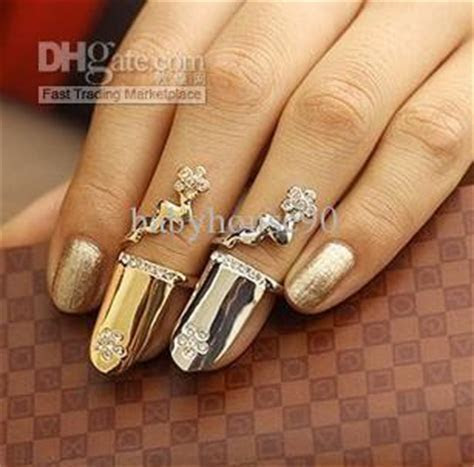 Finger Nail Rings Fashion Jewelry Diamond Flower Plated