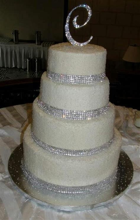 Butter cream with glitter sugar and rhinestone cake
