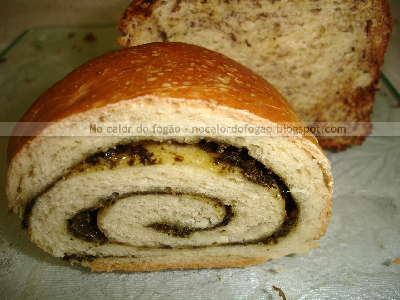 Pão de pesto cortado