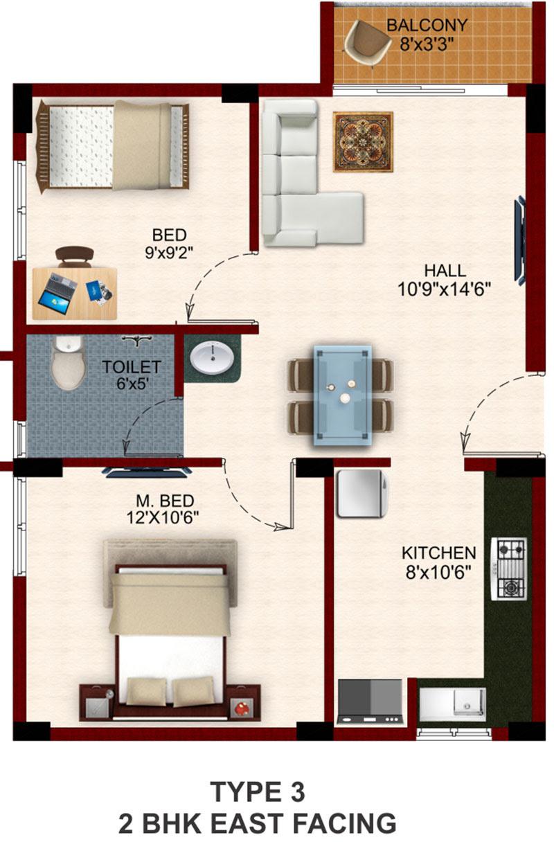 19 Delightful 2 Bhk House Plans House Plans