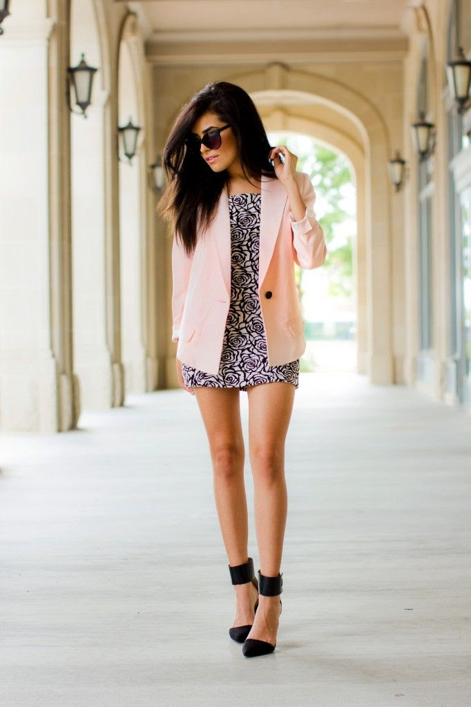 light pink blazer and rose print dress