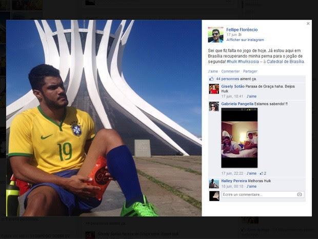 Postagem do brasiliense que é sósia do meia-atacante Hulk, em rede social (Foto: Facebook/Reprodução)