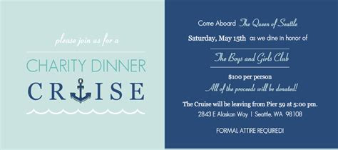 Charity Fundraiser Invitations   Blue Dinner Cruise