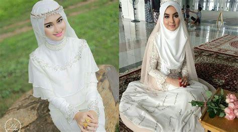 inspirasi gaun pengantin syari berwarna putih tampil