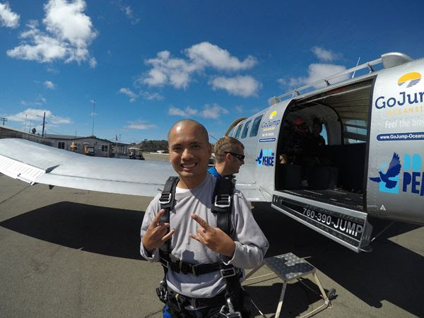 Posing for the camera before boarding the aircraft for my tandem skydive above Oceanside, California...on October 4, 2018.