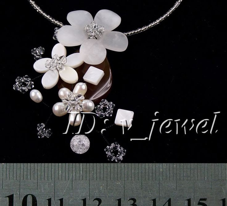Jade&shell&pearl&crystal flower necklace VJ