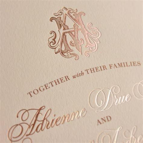 Rose gold foil custom monogram wedding invitations by ECRU