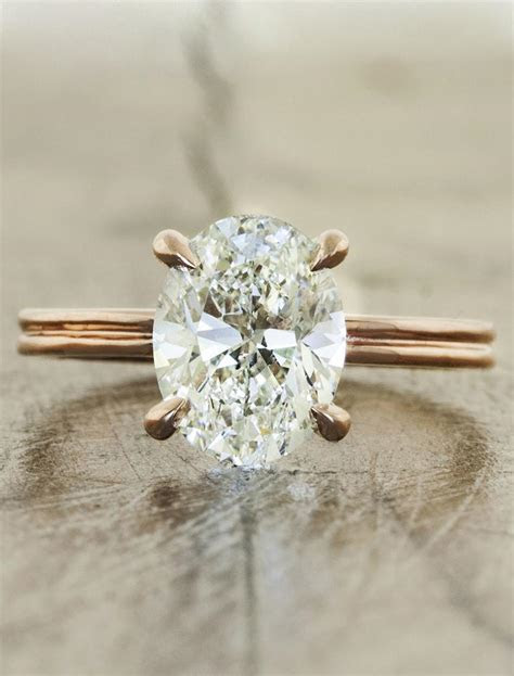 Molly: Unique Oval Diamond Ring, Rose Gold Double Band
