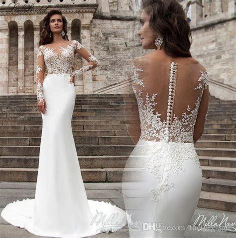 Robe De Marriage 2017 Illusion Long Sleeves Mermaid